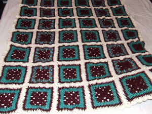 Beautiful Hand Crocheted Afghan #3 - Maroon & Teal - $40.00 Belleville Belleville Area image 2