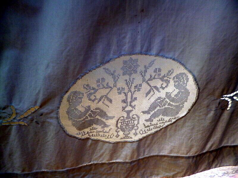 EXQUISITE Hand Embroidered CHERUB FIGURAL LACE Sheet *MOVIE STAR ESTATE