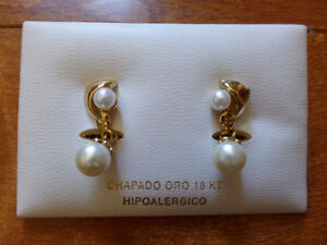 Brand New 18K Gold and Pearl Earrings