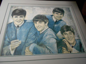 Beatles limited edition lithograph on canvas signed leo Jansen