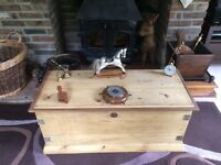 Beautiful old pine chest toy blanket box coffee table trunk ottoman