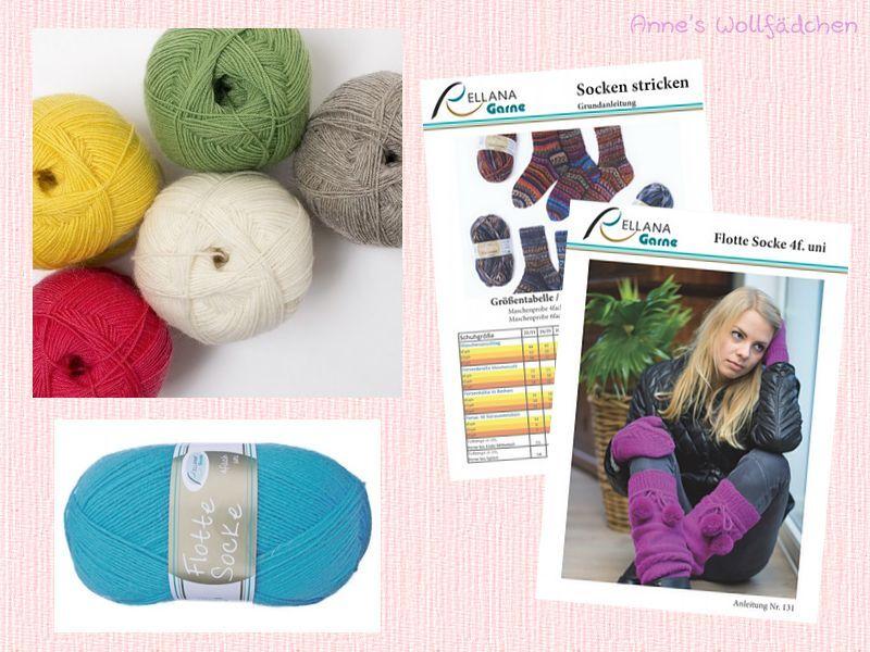 Flotte Socke 4fach Uni von Rellana - (4,89€/100g) Sockenwolle