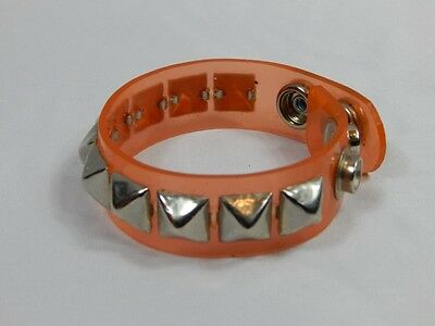 Nos FUNK PLUS Orange Pyramid Metal Stud Vinyl Vegan Wristband Cuff Bracelet Punk
