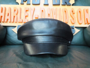 Leather Motorcycle Road Captain's Hat
