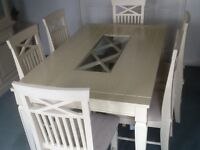 Dining room table & 6 chairs in cream
