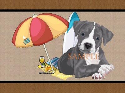 Puppies Rule Blue Pitbull Pit Bull #1 Beach Buddy House Decor Door Mat Floor Rug