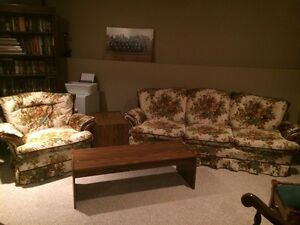 Couch, chair, two end tables and one coffee table