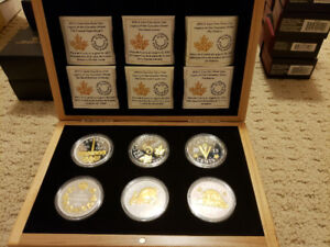 5 cent large silver and gold 6 coin set - Royal Canadian Mint