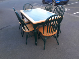 Tiles Top Dining Table and 6 Chairs