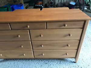 Beautiful long bedroom dresser for sale plus night table