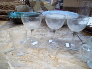 Down Sizing 6 Crystal Glasses