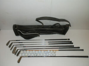 Vintage Golf Clubs with Leather Golf Bag and 2 Dozen Golf Balls