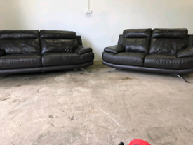 Dfs real brown leather 3+2 seater sofas couches suite 🚚🚚