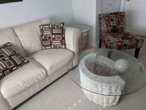 Loveseat, glass top coffee and end table, chair and 2 pillows