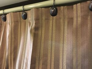 Brown/Mocha/Gold Striped Shower Curtain with Hooks Kitchener / Waterloo Kitchener Area image 4