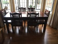 Jail Solid Wood Dining Table, 6 Chairs, Sideboard and Mirror Set