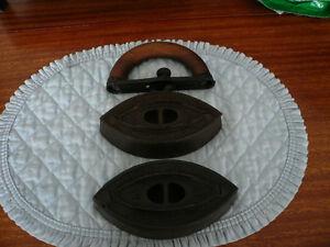 Antique 1 & 2 lb Sad Irons with rare Handle