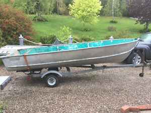 14 ft alum boat motor and trailer