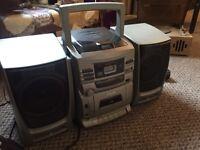 CD player , speakers , tape player , radio