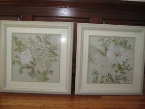 2 Embroidered Floral Pictures