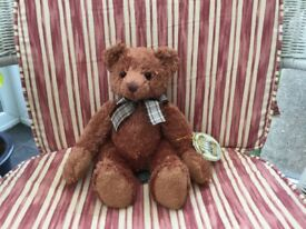 TEDDY BEAR BY RUSS BERRIE A PLUSH BROWN BEAR. 100th ANNIVERSARY EDITION. SO BY NOW, 16 YEARS OLD