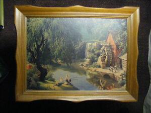 Vintage Landscape Print, framed,Detlefson - GOOD OLD DAYS