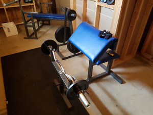 Preacher curl, EZ bar and adjustable incline bench