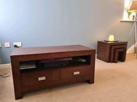 Dark wood tv stand and nest of tables