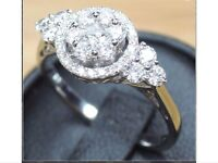 Stunning white gold cluster ring, size O RRP £2715