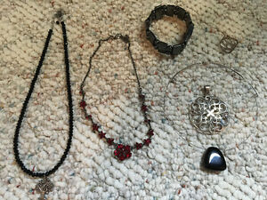 3 necklaces, 1 bracelet, 1 pendant 1 ring