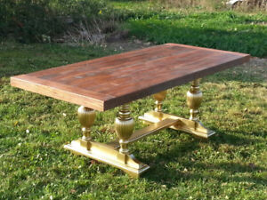 harvest table with gold painted base.