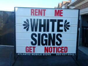 Selling White Mobile Signs:  THE ABSOLUTE BEST DEAL OUT THERE!