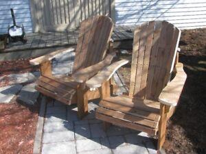 chaise adirondack en bois traité brun prête a teindre