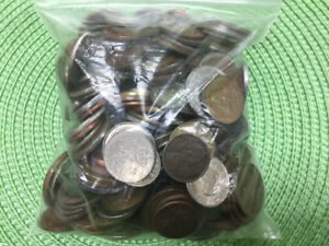 Bag of old Canada & World Coins - counted over 300 in Total.