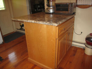 Oak Kitchen Island with Granite Top and Breakfast Bar