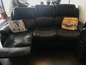 Leather couch, futon & mattress for sale!!
