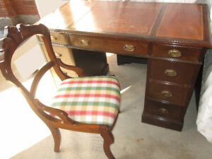 REDUCED! 1930s Andrew Malcolm Walnut Desk/Vanity-w ANTIQUE chair