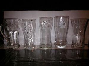 5 different coke glasses