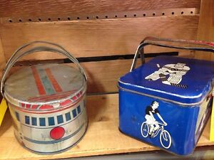 Vintage Lunch Boxes - Train/ Sports Theme 1930/ 40's Moose Jaw Regina Area image 1