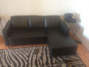 Black leather sectional sofa $600