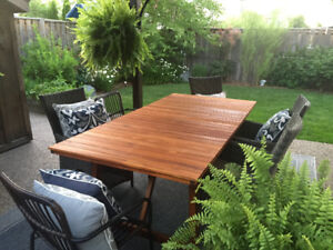 Solid Reclaimed TEAK patio DINING TABLE ONLY