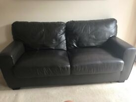 2 & 3 seater real leather sofas in chocolate brown