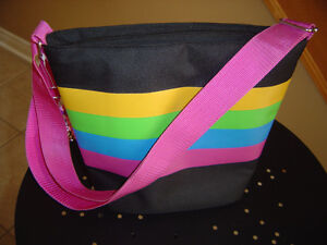 Women's black multicoloured striped insulated lunch bag NEW