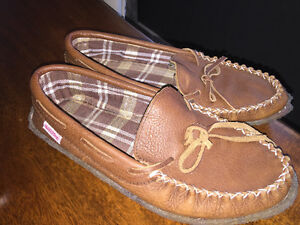 Men's SoftMoc brown leather moccasins