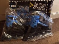 Zinc In line Roller Skates 4-7 Boxed NEW