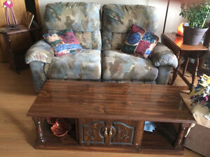 Recliner Love Seat and Coffee Table