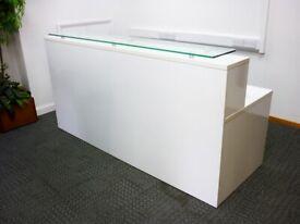 FREE SAME-DAY DELIVERY - Polar Value White Gloss 2200x800mm Reception Desk