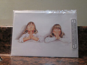Set of 13 – Two Little Girls Praying Blank Art Cards with Envelo