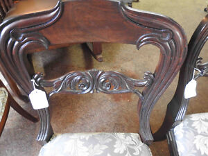 Pair antique victorian side balloon back chairs ornate carving Oakville / Halton Region Toronto (GTA) image 1