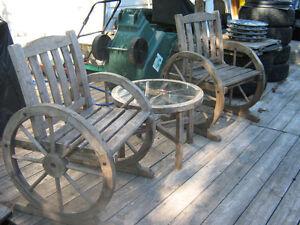 wagon wheel bistro set  unique or best offer Kingston Kingston Area image 1